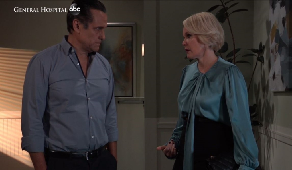 Sonny and Ava discuss Mike at Turning Woods General Hospital