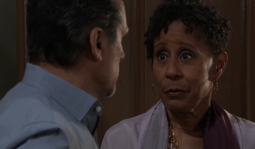 Stella tells Sonny Mike needs permission to die at Turning Woods General Hospital
