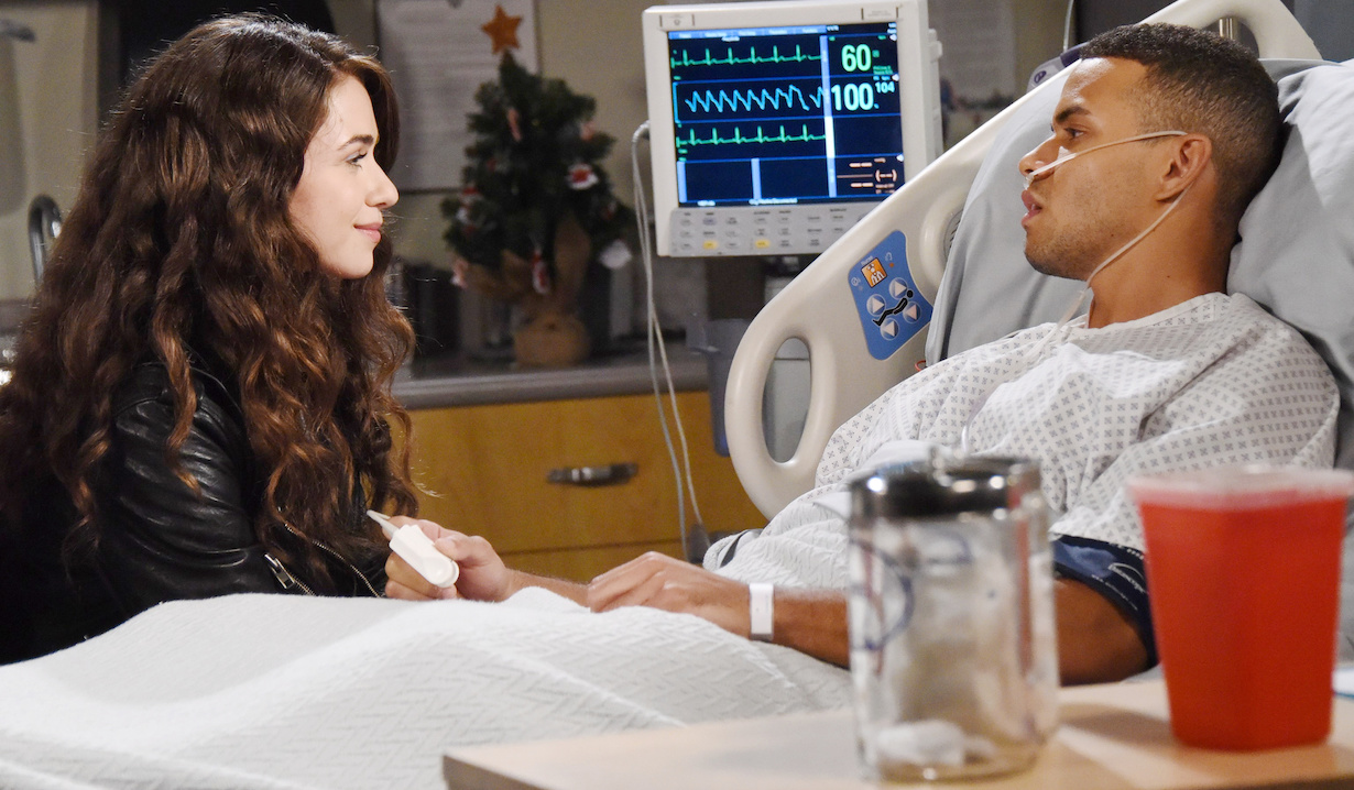 days of our lives victoria konefal and kyler pettis as ciara and theo in hospital