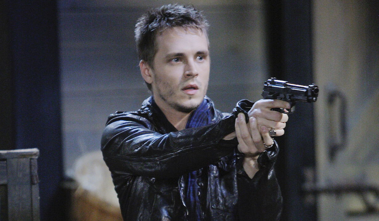 general hospital jonathan jackson as lucky holding a gun