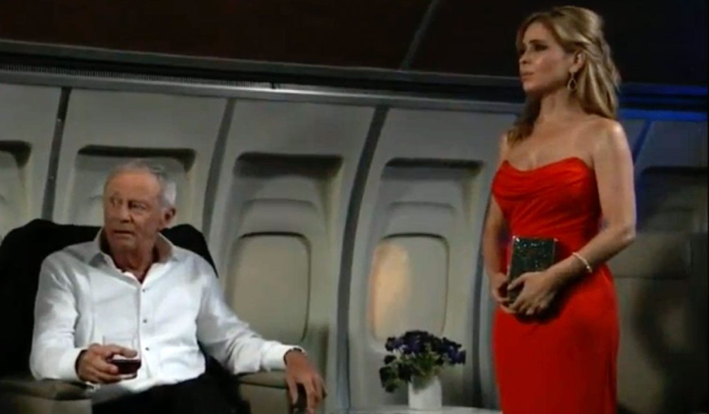 Olivia and Robert on plane on GH