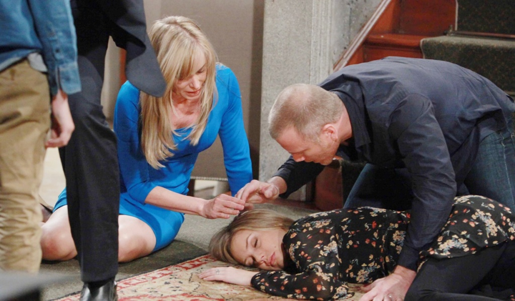 Abby fall stairs Y&R
