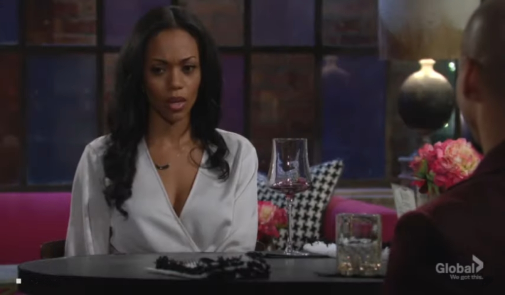 Amanda listens to Devon at Society Young and the Restless