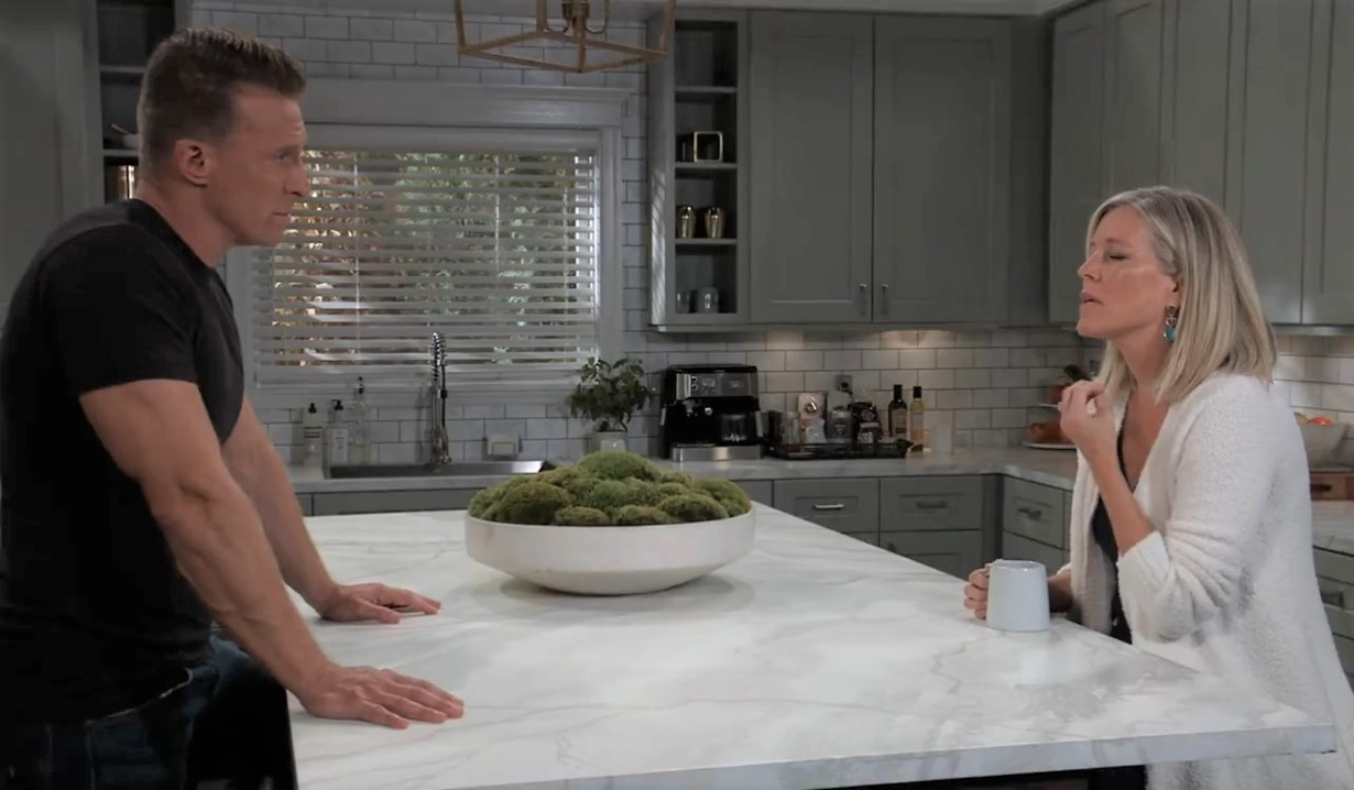 Carly and Jason try to remember in the Corinthos kitchen General Hospital