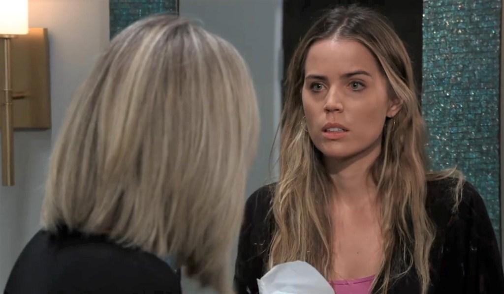 Carly questions Sasha in Nina's bathroom General Hospital