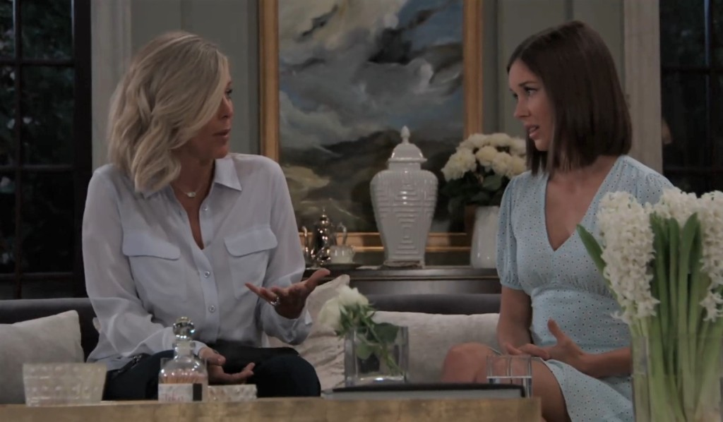 Carly and Willow discuss Michael at the Quartermaine estate General Hospital