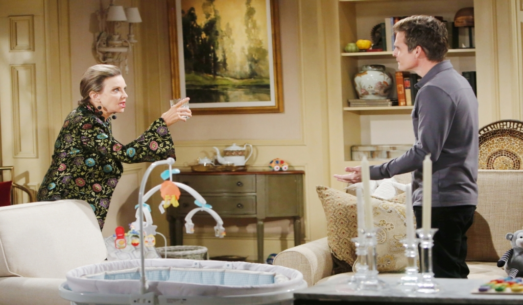 Gloria lectures Kevin at the Chancellor estate Young and the Restless