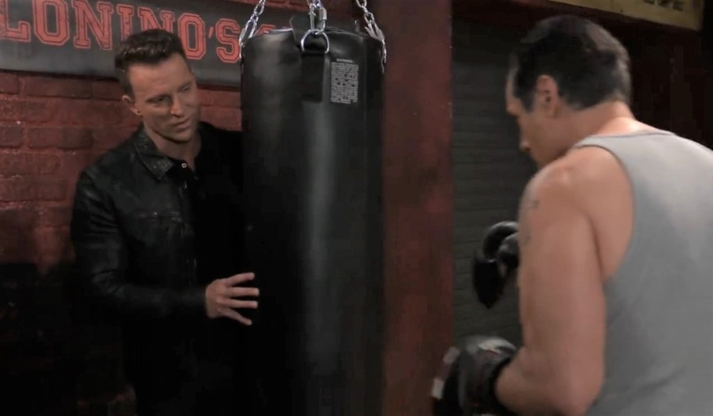 Jason and Sonny discuss Cyrus' drugs at the gym General Hospital