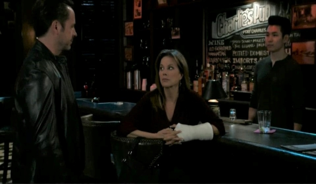 Julian stops Alexis from drinking at Charlie's General Hospital