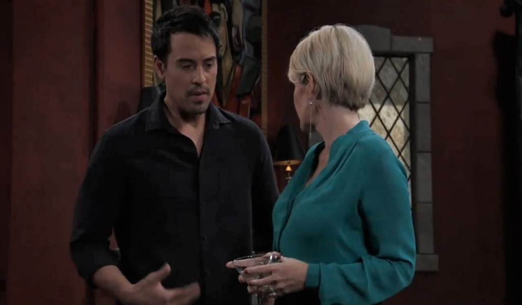 Nikolas and Ava discuss their feelings at Wyndemere General Hospital