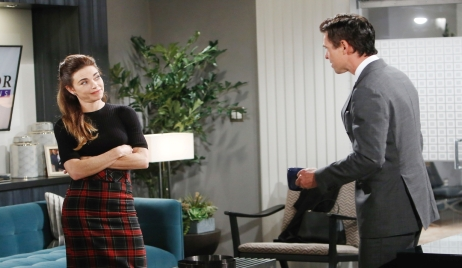 Victoria and Billy discuss security at ChanceComm Young and the Restless