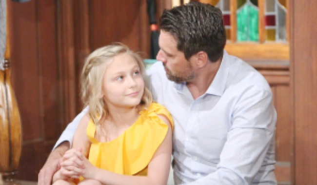 """Joshua Morrow, Alyvia Alyn Lind""""The Young and the Restless"""" Set CBS television City Los Angeles 05/11/18 © Howard Wise/jpistudios.com 310-657-9661 Episode # 11452 U.S. Airdate 06/14/18"""