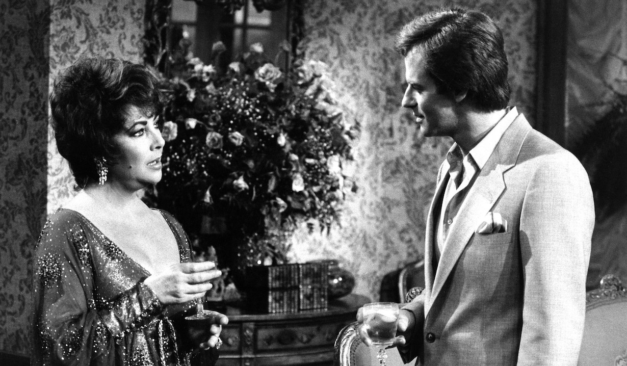 GENERAL HOSPITAL, from left, Elizabeth Taylor, Tristan Rogers, aired November 1981. ©ABC/courtesy Everett Collection.