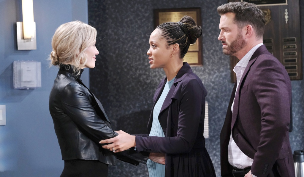 Lani and Brady talk with Kristen at SPD on Days of Our Lives