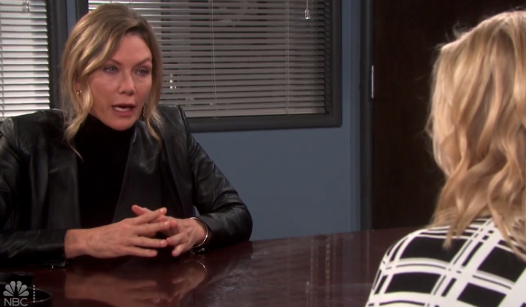 Kristen pleads with Belle at the station on Days of Our Lives