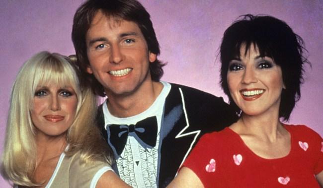 THREE'S COMPANY, l-r: Suzanne Somers, John Ritter, Joyce DeWitt, (Season 4), 1977-84.