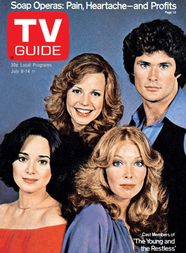 THE YOUNG AND THE RESTLESS, clockwise from top left: Brenda Dickson, David Hasselhoff, Jaime Lyn Bauer, Victoria Mallory, TV GUIDE cover, July 8-14, 1978. TV Guide/courtesy Everett Collection