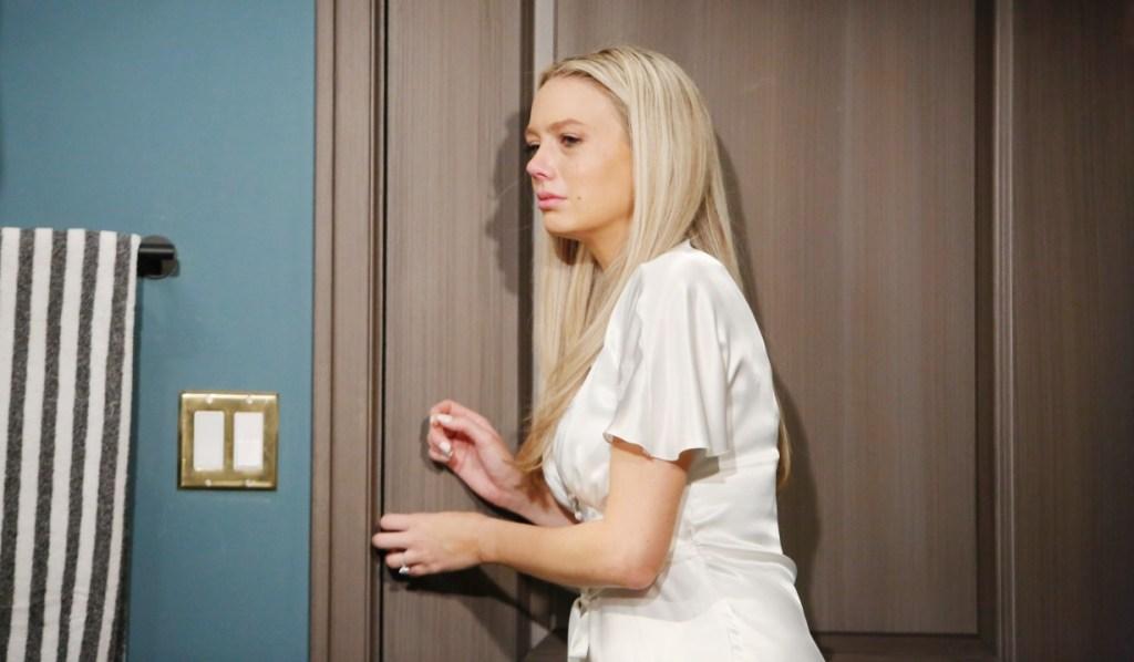 Abby has wedding nerves in the bathroom Y&R