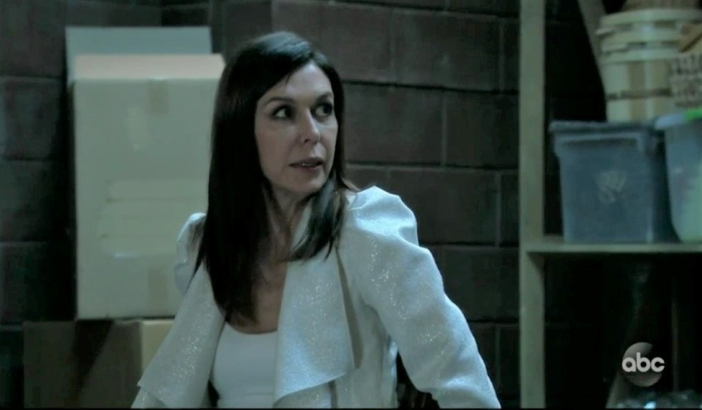 Anna and Alex argue about Peter in basement General Hospital