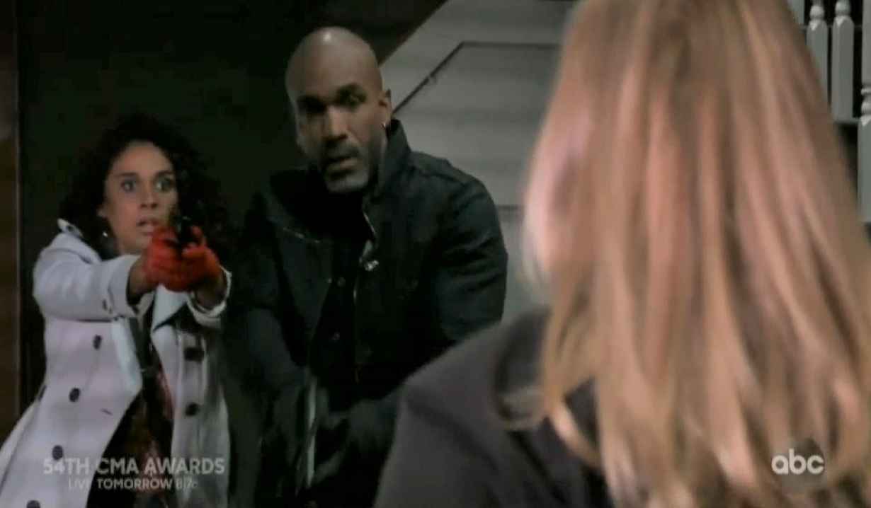 jordan and curtis see laura at safe house GH