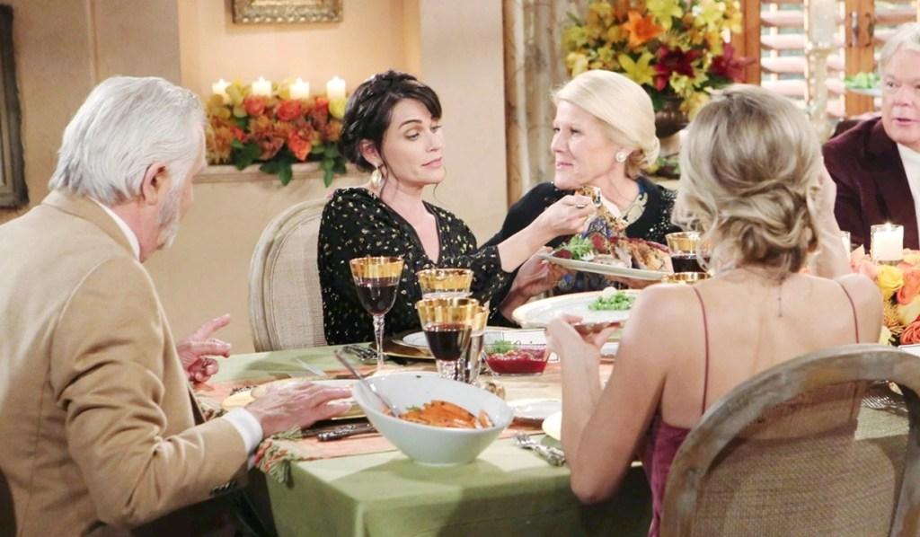 Eric, Quinn, Pam table Thanksgiving B&B
