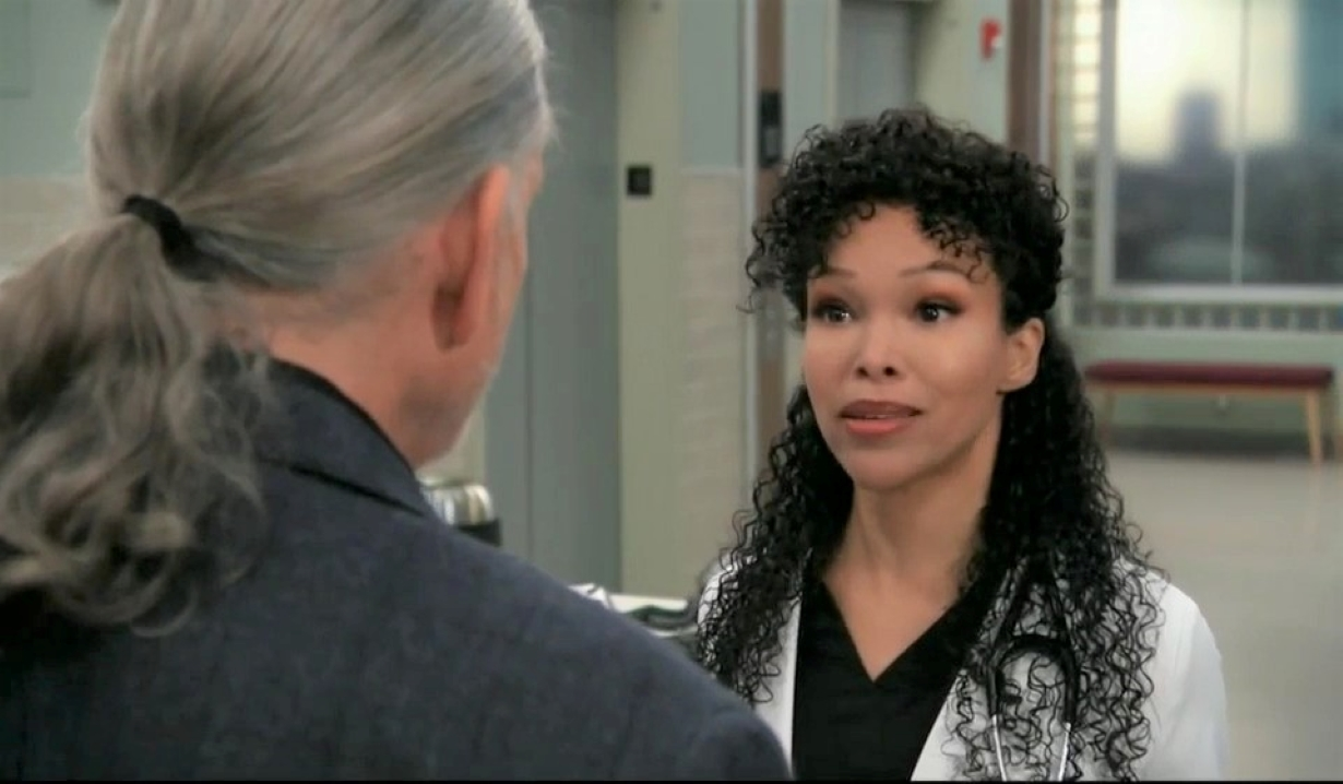 Portia and Cyrus bicker about Taggert at General Hospital