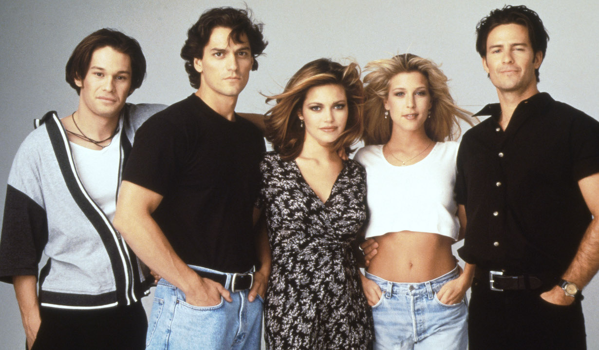 THE CITY, (from left): Corey Page, George Palermo, Amelia Heinle (aka Amelia Weatherly), Laura Wright, Ted King, 1995-97. © Dramatic Creations / Courtesy: Everett Collection