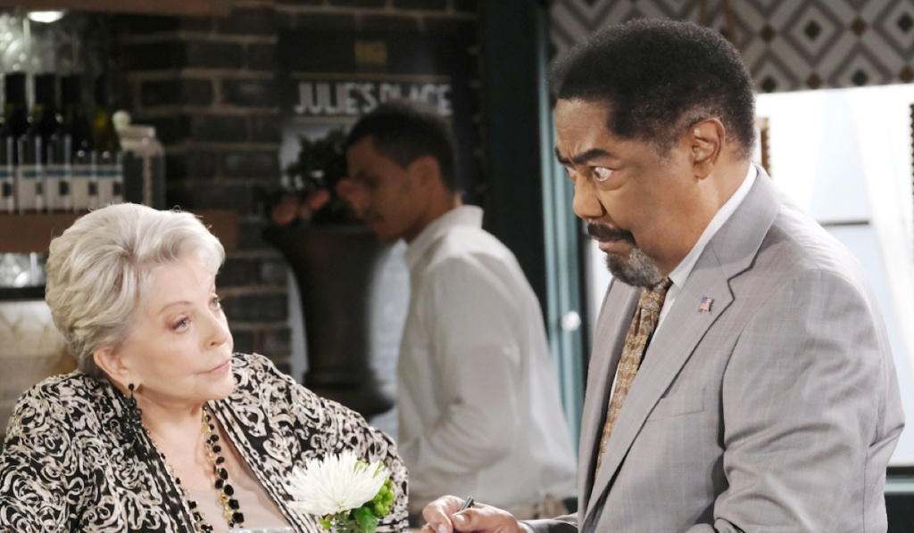 Abe and Julie talk at Julie's Place on Days of Our Lives