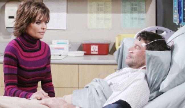 "Lisa Rinna, Peter Reckell""Days of our Lives"" Set NBC Studios Burbank 01/17/12 © Paul Skipper/jpistudios.com 310-657-9661 Episode # 11820 U.S.Airdate 04/12/12"
