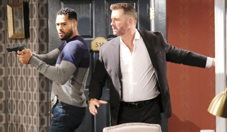 Eli and Brady burst into Belle's hotel room on Days of Our Lives