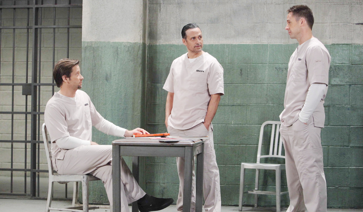 "Roger Howarth, Maurice Benard, Wlliam deVry franco sonny julian jail ""General Hospital"" Set The Prospect StudiosABC Studios12/17/14© Howard Wise/jpistudios.com310-657-9661Episode # 13226U.S. Airdate 01/23/15"