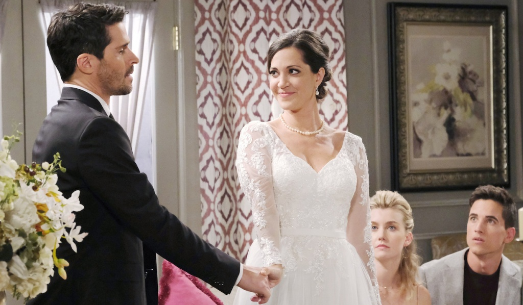 Jan beams at a leery Shawn at wedding on Days of Our Lives