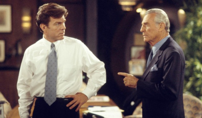 Peter Bergman and Jerry DouglasYoung and Restless Set CBS Television City 7/26/01 © Aaron Montgomery/JPI 310-657-9661 Episode #7207