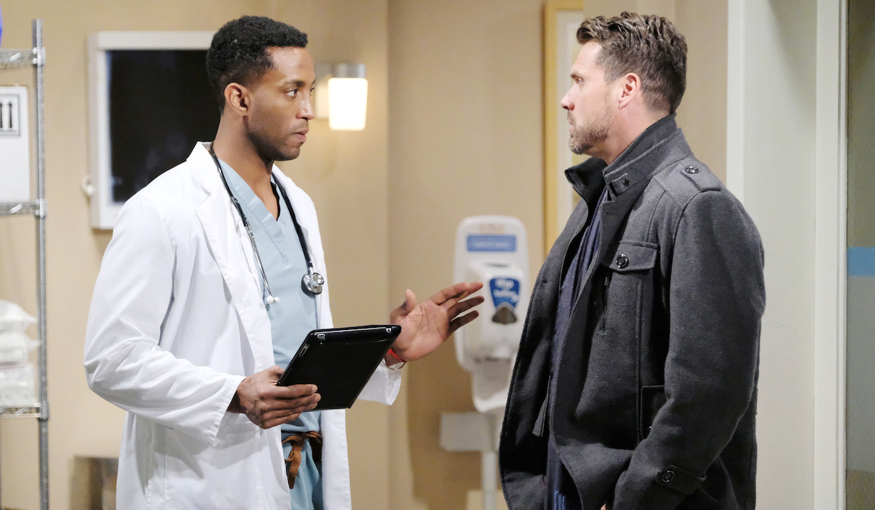 "Joshua Morrow, Darnell Brooks ""The Young and the Restless"" Set CBS television City Los Angeles 11/13/18 © Jill Johnson/jpistudios.com 310-657-9661 Episode # 11587 U.S. Airdate 12/24/18"
