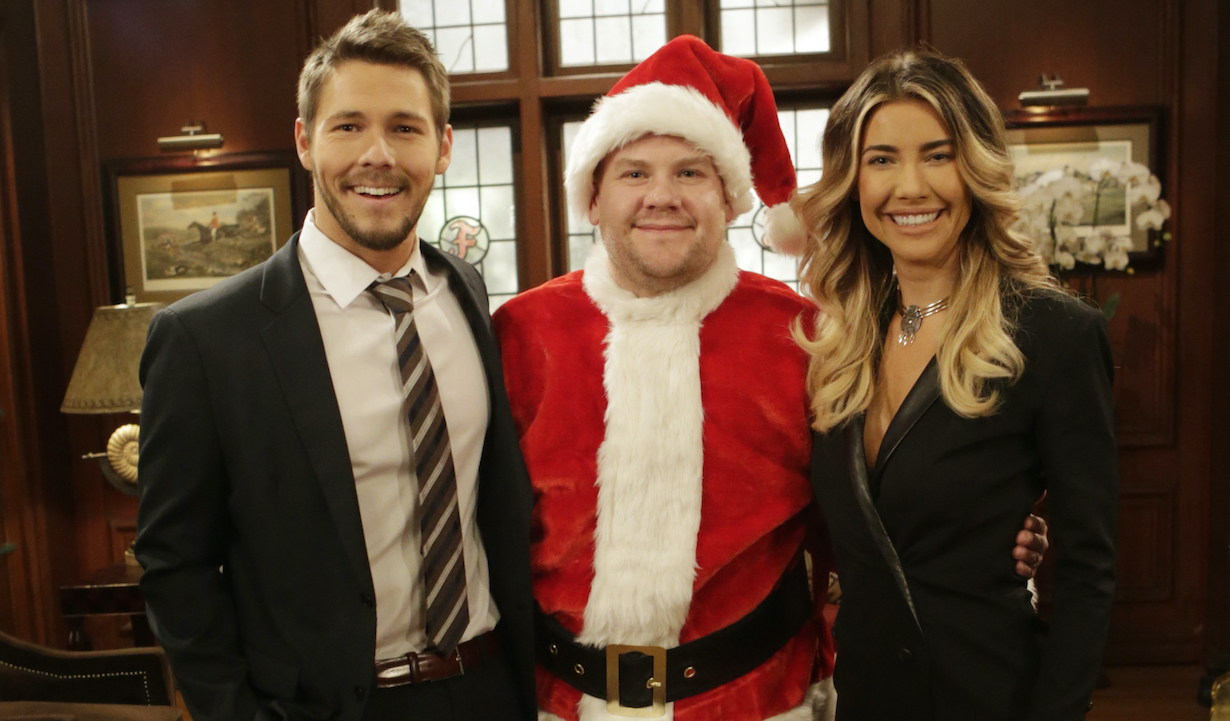 """James Corden spreads holiday cheer at the Bold & Beautiful set with Jacqueline MacInnes Wood and Scott Clifton on """"The Late Late Show with James Corden,"""" Thursday, Dec. 17 (12:37 – 1:37 AM, ET/PT) on the CBS Television Network."""