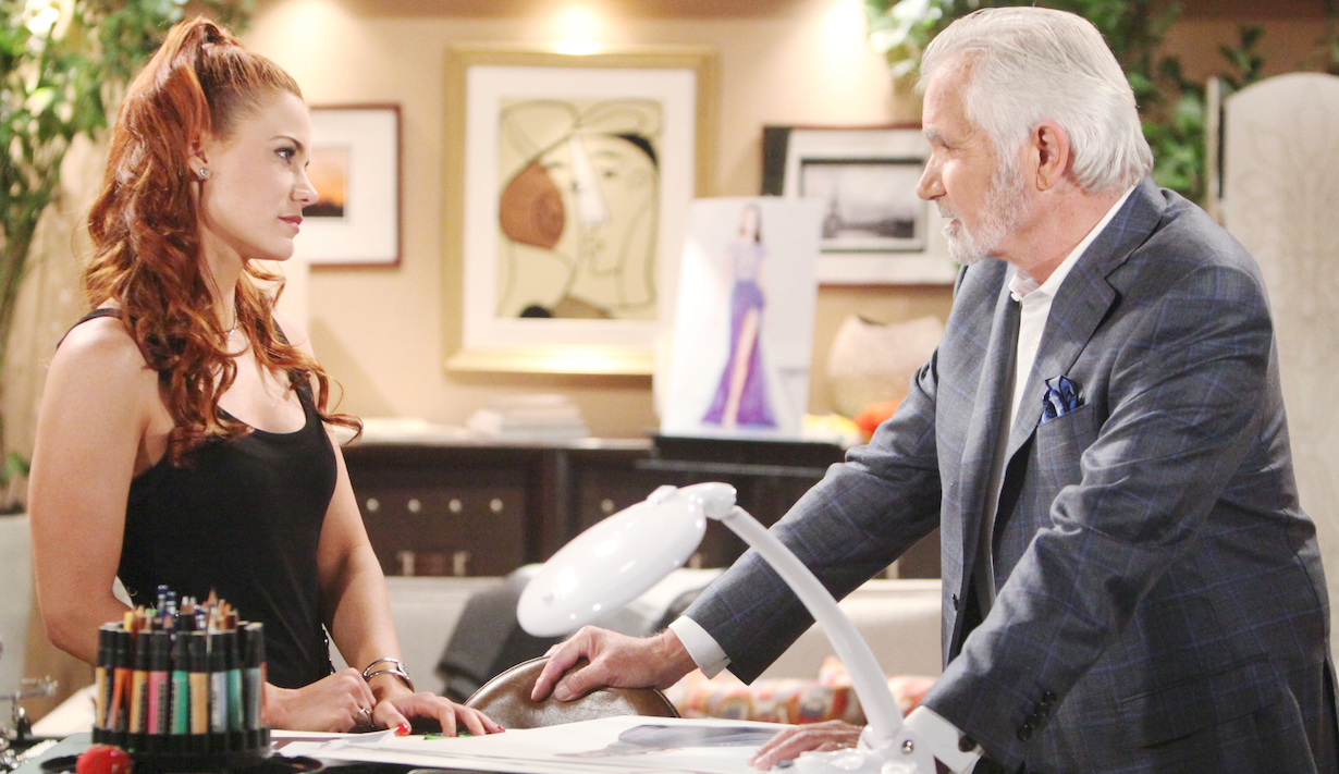 "Courtney Hope, John McCook ""The Bold and the Beautiful"" Set CBS Television City Los Angeles, Ca. 06/28/19 © Howard Wise/jpistudios.com 310-657-9661 Episode # 8152 U.S.Airdate 08/09/19"