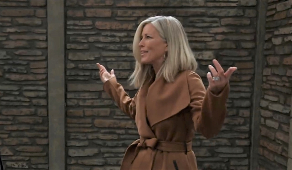 Carly mocks Taggert in the garden General Hospital