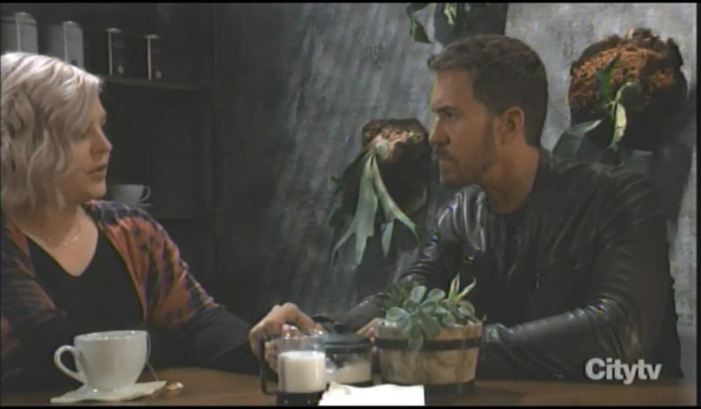Peter and Maxie discuss wedding at Perks General Hospital