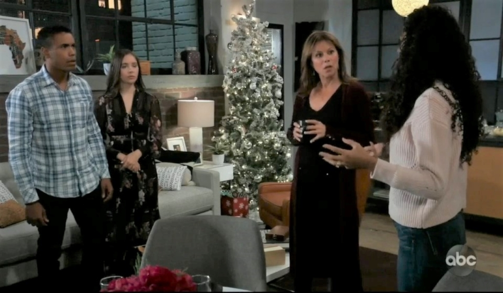 Molly, TJ, Alexis and Jordan talk Taggert at home General Hospital