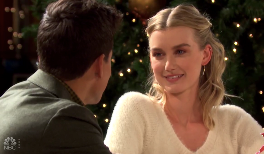 Claire smiles at Charlie in Horton Square on Days of Our Lives