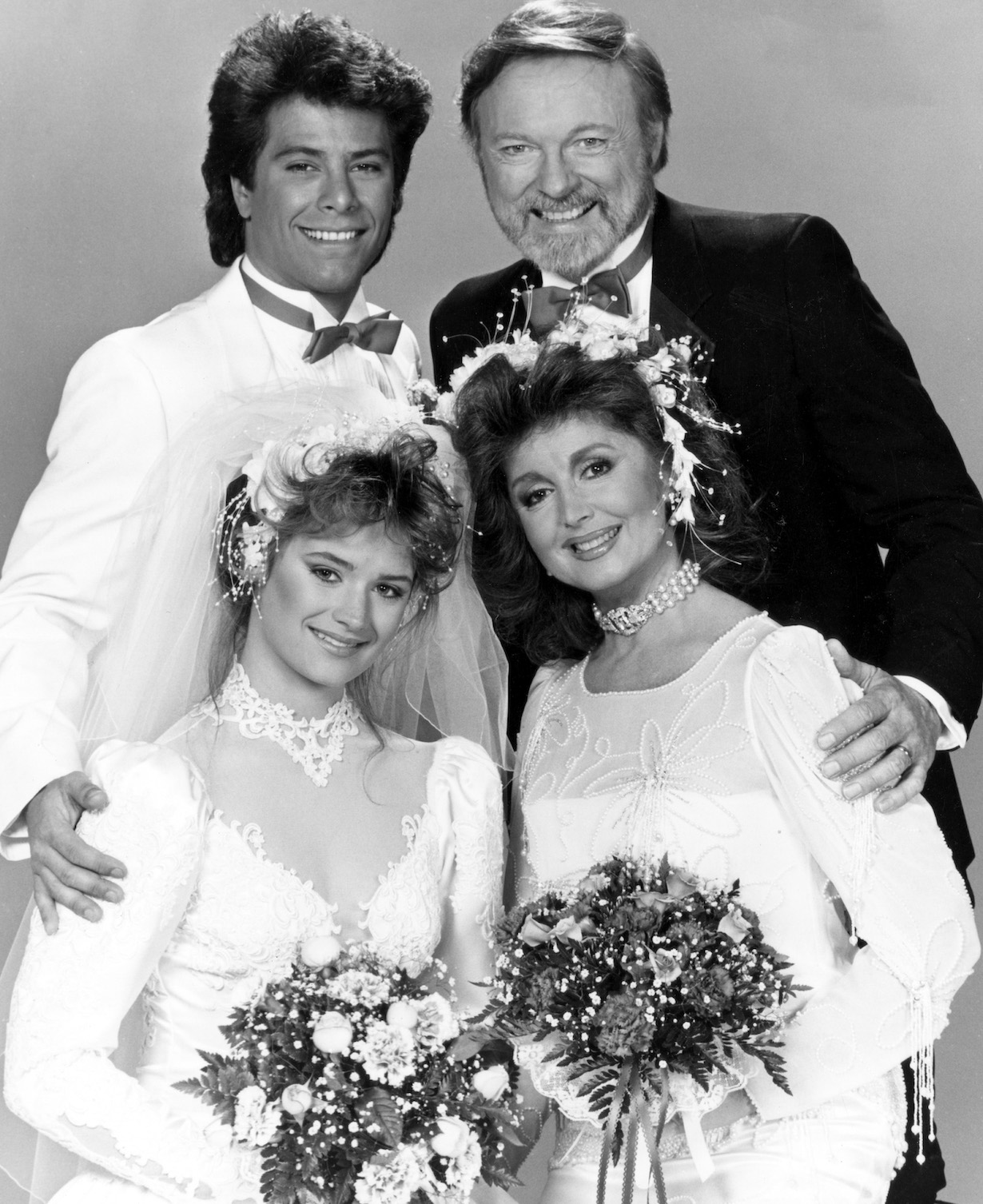 DAYS OF OUR LIVES, mickey maggie melissa pete wedding 1986 Michael Leon, John Clarke, (bottom, l-r) Lisa Trusel, Suzanne Rogers, Season 23, January 31, 1986. 1965 -. (c) Columbia TriStar Television/ Courtesy: Everett Collection.