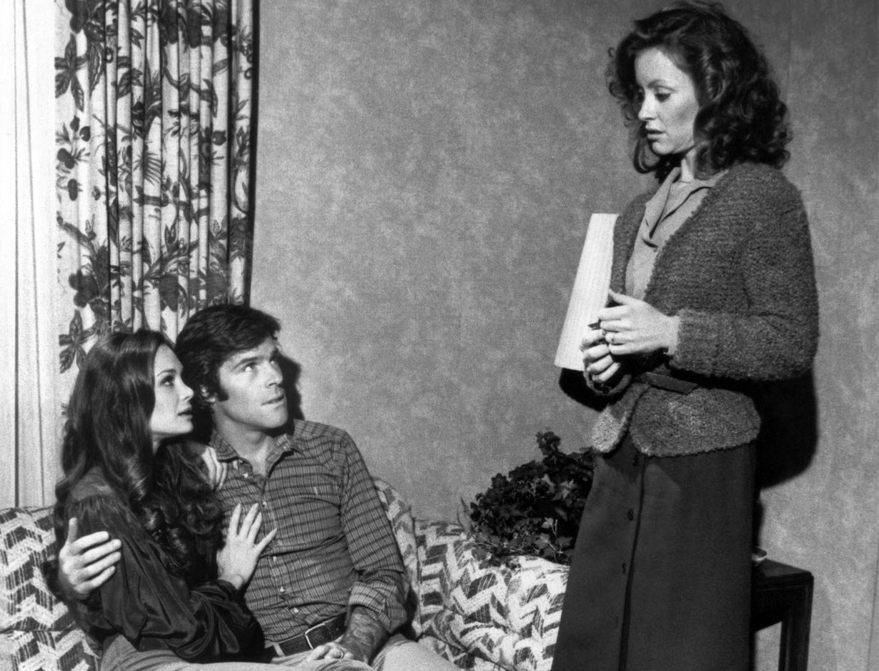 KNOTS LANDING, (from left): Mary Crosby, James Houghton, Kim Lankford, 'Kristin', (Season 2, aired Dec. 18, 1980), 1979-93. © Lorimar Television / courtesy Everett Collection