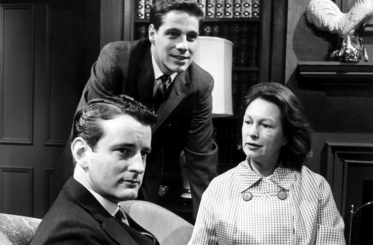 OUR PRIVATE WORLD, from left: Nicolas Coster, Sam Groom, Geraldine Fitzgerald, 1965.