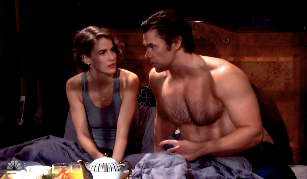Sarah and Xander plot while enjoying breakfast in bed on Days of Our Lives