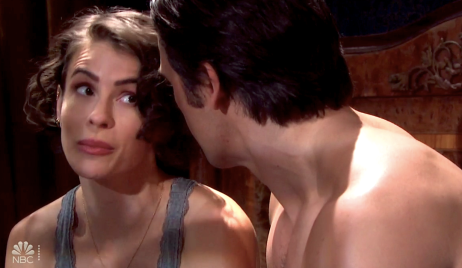 Sarah and Xander plot in bed on Days of Our Lives