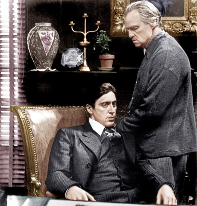 THE GODFATHER, from left: Al Pacino, Marlon Brando, 1972