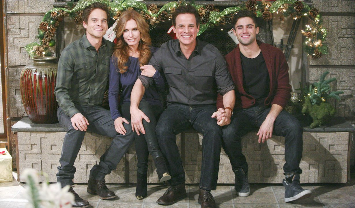 """Greg Rikaart, Christain LeBlanc, Tracey Bregman, Max Ehrich """"The Young and the Restless"""" Set Christmas CBS television City Los Angeles 11/07/14 © sean smith/jpistudios.com 310-657-9661"""