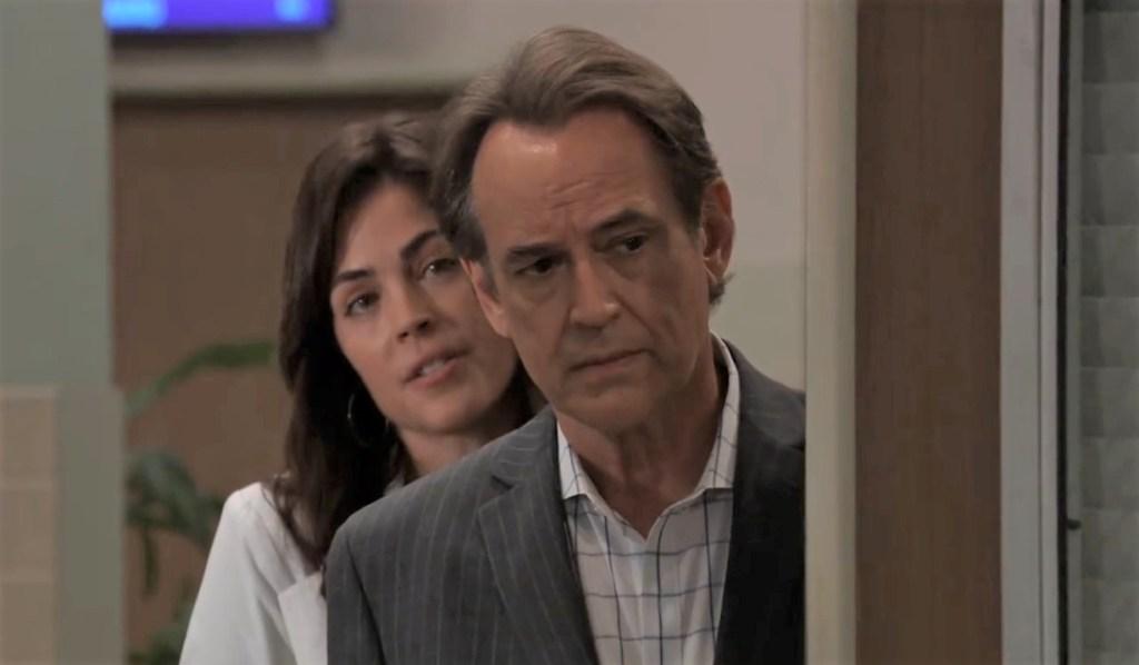 Kevin and Britt look at Ryan at General Hospital