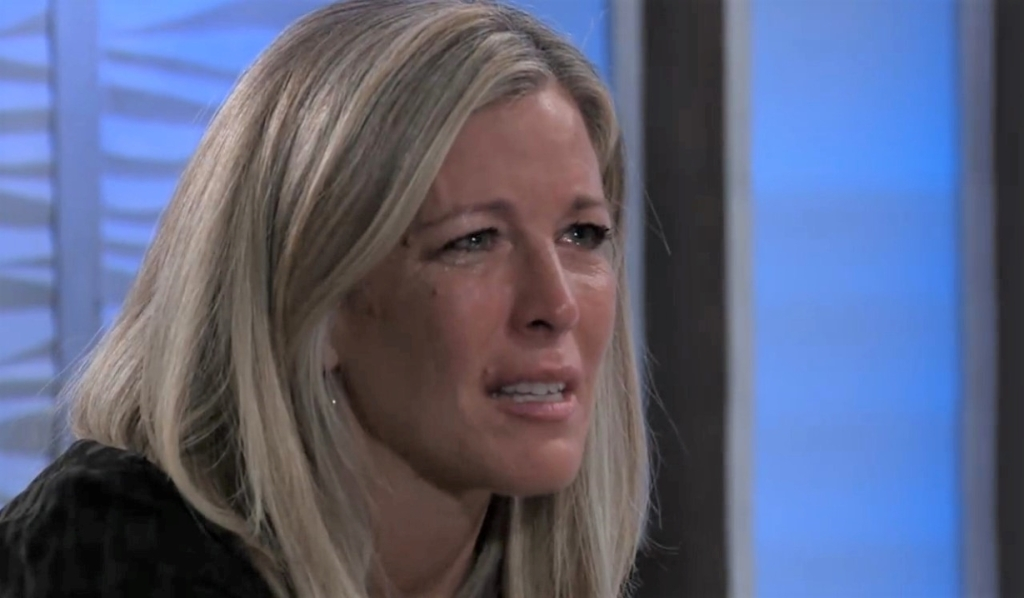 Carly sobs to Jax about Sonny at Metro Court General Hospital