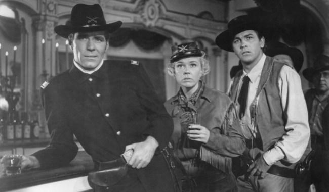 CALAMITY JANE, from left: Philip Carey, Doris Day, Howard Keel, 1953